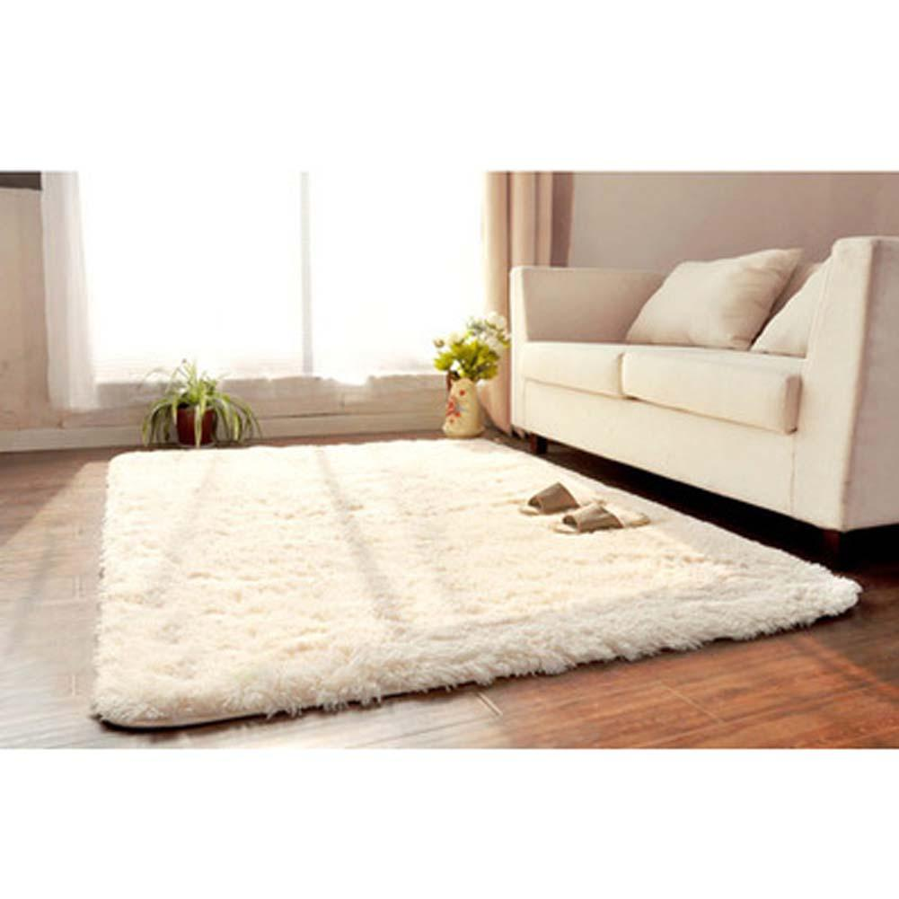 Anti Skiding Fluffy Rugs Carpets For Living Room Shaggy Ivory Wool ...