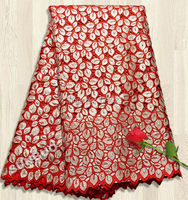 Allover sequins big heavy Red Silver handcut organza lace African Swiss lace fabric  5 yards per piece 9012