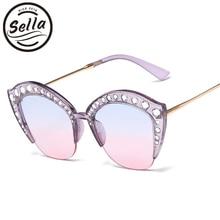 Sella 2018 New Popular Women Luxury Crystal Decoration Cateye Sunglasses Brand Designer Fashion Ladies Gradient Lens Glass Wear