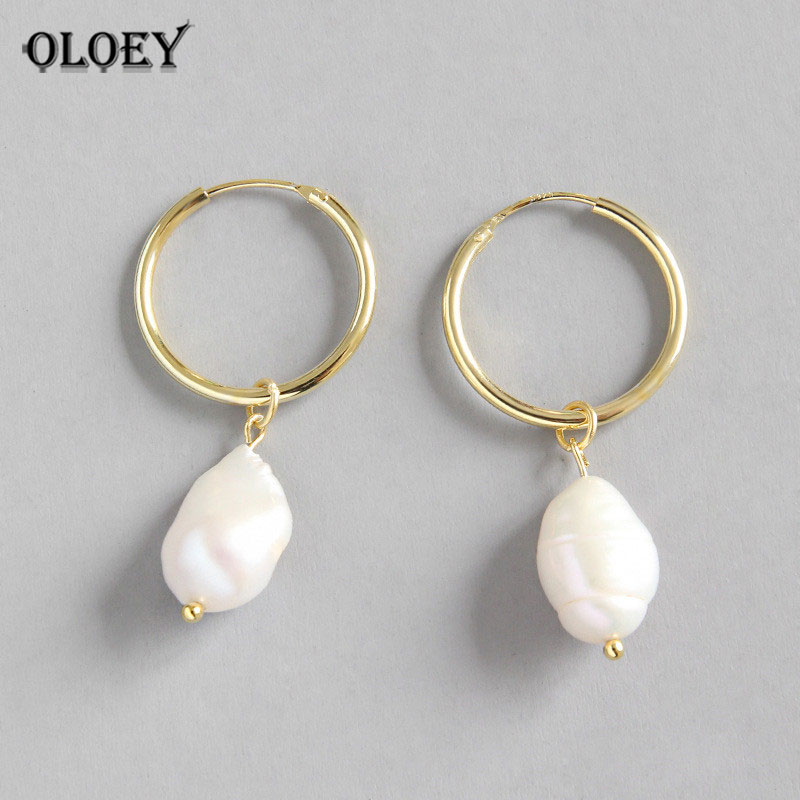 OLOEY Drop-Earrings Jewelry Baroque Pearls Natural-Freshwater White Women for Korean-Style