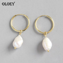 OLOEY White Natural Freshwater Baroque Pearls Drop Earrings For Women Korean Style Engagement Dangle Earring Jewelry YME329