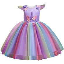 Girls Unicorn Rainbow Dress Toddler Girl Party for Kids Wedding Birthday New Year Dresses