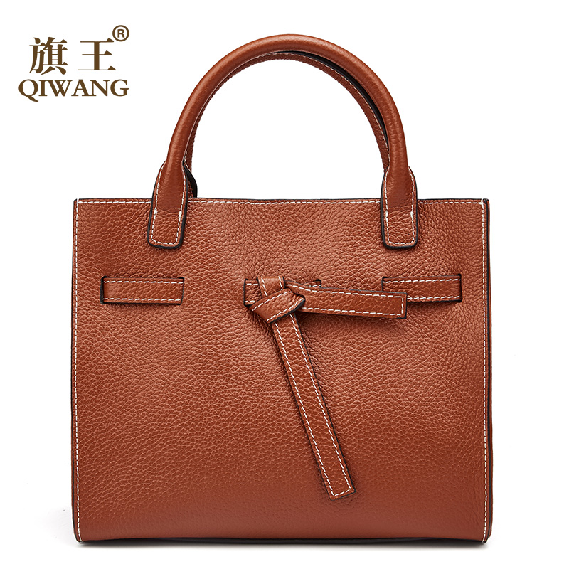 Qiwang Women Bag 100% Genuine Leather Women Belt Handbag Luxury Brand Leather Women Bag Soft fashion tote bag for women