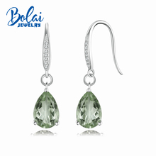 Bolaijewelry,Pear shape Gorgeous Natural green amethyst hook earring solid 925 sterling silver gemstone dangle earrings for lady