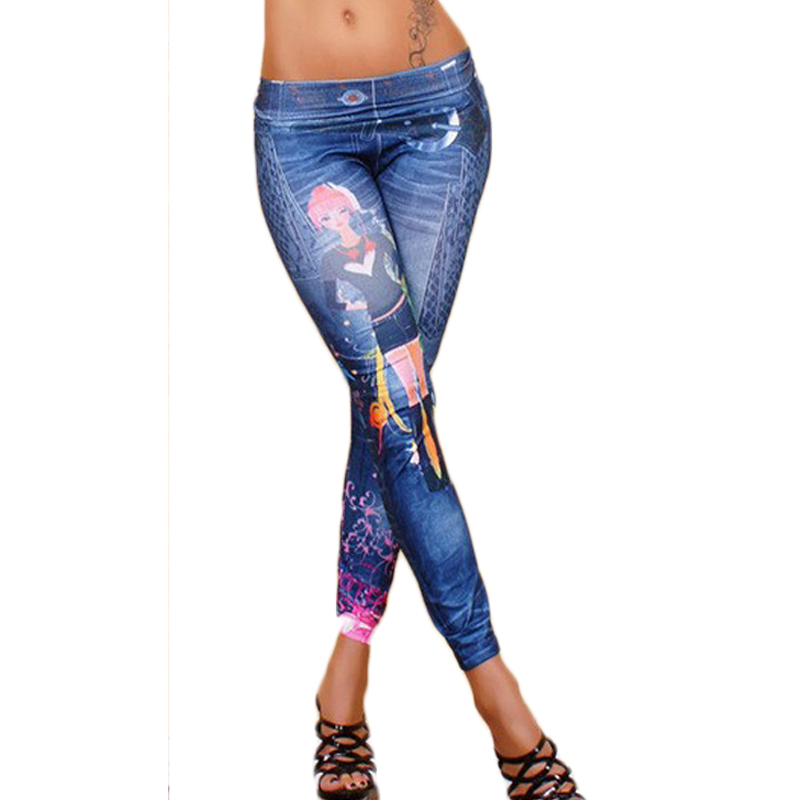 European And American Fashion Printed Jeans Pants For Women Sexy Tattoo Leggings Ladies Vintage ...