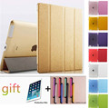 Free shipping Silk Leather Case Tablet Protective Shell for iPad 2/3/4 + Touch Pen Gift + Protective Film Gift