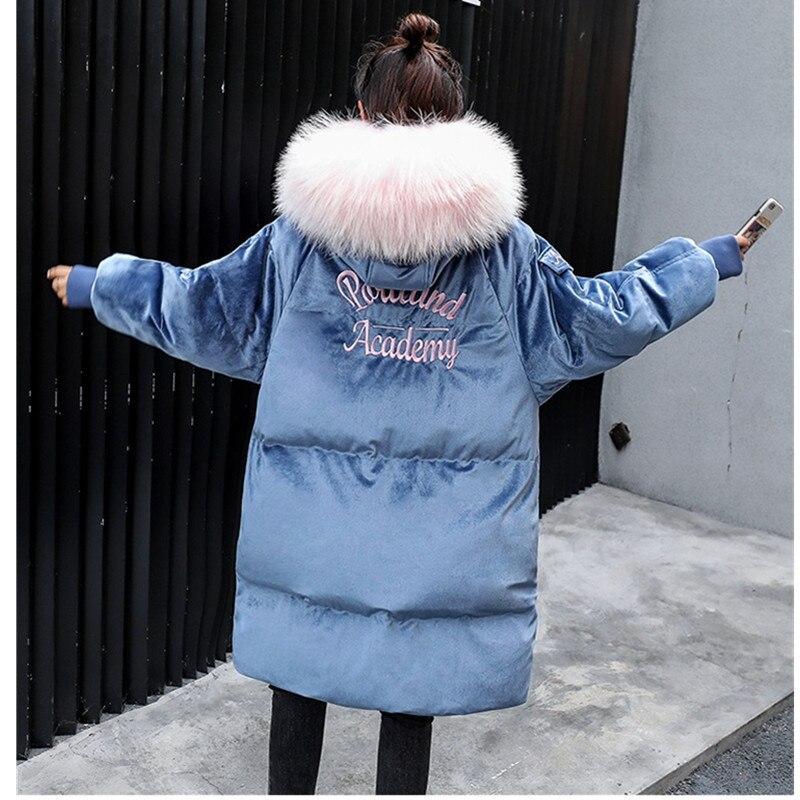 Et Épais pink D'hiver Veste Bas Vestes Grand Chaud 2018 Fourrure Coréenne Purple Manteau Nouveau Femmes Col Étudiant Manteaux Long De Parkas 278 Or Coton Velours Blue xSWwTfa