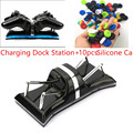LED Dual USB Charger Controller Charging Dock Station Stand+10 Analog Grips Thumb stick caps Cover For Sony Playstation 3 PS3