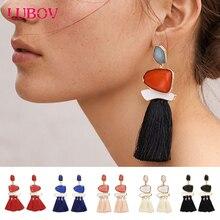 LUBOV 3 Strands Long Tassel Earrings Lovely Girls' Fashion Stud Earring Women Acrylic Stone Piercing Earrings for Cute Girls