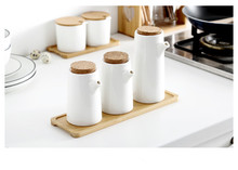 1SET Kitchen Ceramic White Gravy Boats Oil Pot Vinegar Soy Sauce Bottle Pepper Seasoning Bottle Seasoning Jar Bamboo OK 0888