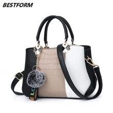 BESTFORM Luxury Handbags Women Bags Designer Colorful Patchwork Ladies Hand Soft Leather Shoulder Bag Crossbody Tote