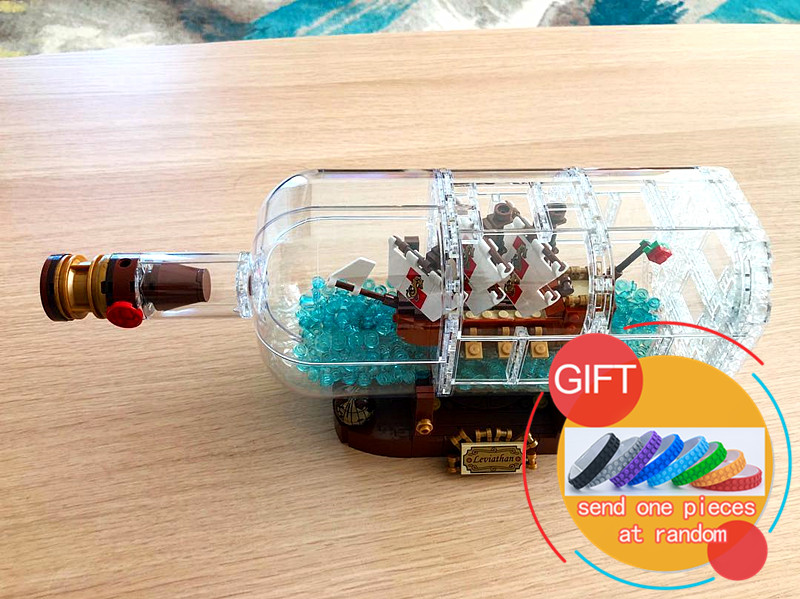 16051 1078Pcs Movie Series The Ship in the Bottle Set Building Blocks Brick compatible with 21313 Toys Model Gift 8 in 1 military ship building blocks toys for boys