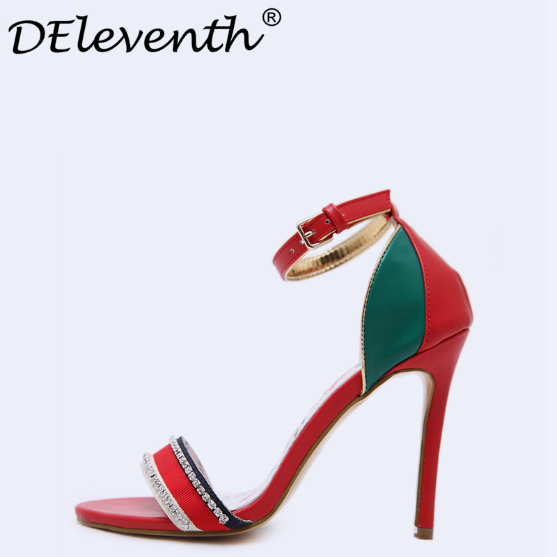 DEleventh Vogue Women Sandals Sexy Crystal Patchwork Shoes Sandals Red Peep Toe Thin High Heels Wedding Party Dress Ladies Shoes baoyafang red big crystal women wedding shoes bride pointed toe shoes 8cm high heels ladies party dress shoes female