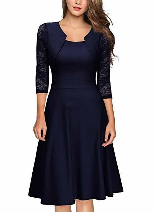 Wanita Elegan Musim Panas Renda Lengan Tunik Pin Up Vintage Kerja Kantor Santai Pesta Line Cocktail Ayunan Dress PLUS ukuran PV236