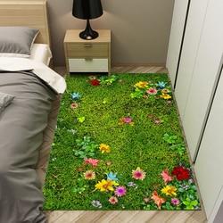 Skandynawski zielony styl wiejski 6mm 3D dywanik do salonu maty kwiatowe Sofa stolik poduszka balkon koc do sypialni w Dywany od Dom i ogród na