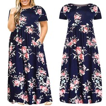 Women Summer Dress Long Style Vestidos De Festa Flower Printed Round Collar Short Sleeve Vestido