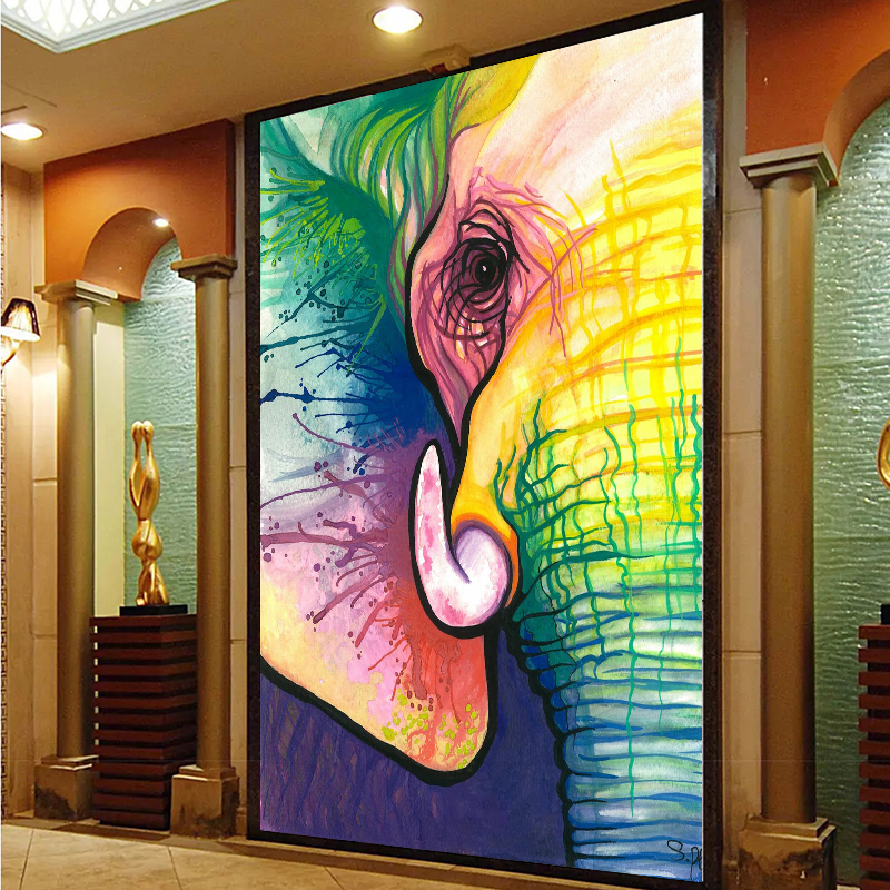 RELIABLI Canvas Art Decorative Painting Elephant Art Print Poster Wall Animal Frameless Picture For Living Room Home Decor