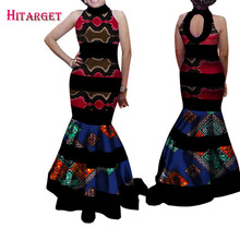 2017 Fashion African Dresses for Women Bazin Riche Patchwork Backless Vestidos Ankara Clothes WY1512