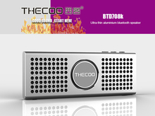 Thecoo BTD708K Slim Bluetooth 2.0 Speakers Metal Portable Mini Wireless Outdoor Subwoofer