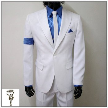 Classic  MJ Michael Jackson Smooth Criminal Classic White Stripe Skinny Party Casual Suit FULL Outfit
