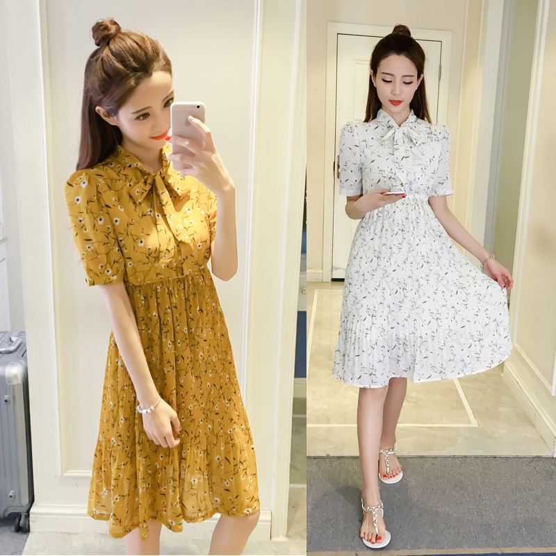 Women Autumn Summer Chiffon Dress Pleated Knee Length Midi Floral Dress  Casual Club Party Dresses party 72f51b26af0d