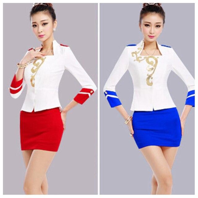 Бесплатная доставка белая юбка костюмы с длинными рукавами тонкий юбка костюм для женщин красный синий рабочая одежда для ресепшн отеля работники Большой размер