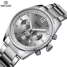 MEGIR Brand Men Chronograph Multifunction Quartz Water Resistant Military Watch Full Steel Watches Army Watch Relogio