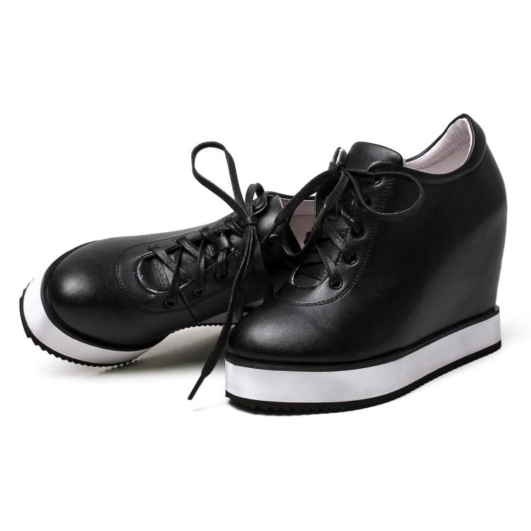 Mujeres Mujer Las {zorssar} Altos Aumento Zapatos De Altura Plataforma Negro Tacones Los blanco Casuales Cuero Cuñas Genuino 2017 rojo P47qw4x1I