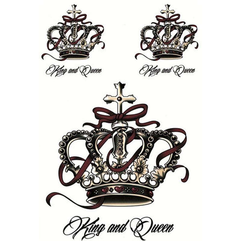 1stk Luxury Crown Tattoo Metallic Stickers Vattentät Tillfällig Tattoo Transfer Stickers Body Art 3D Klistermärke Tatouage Temporaire