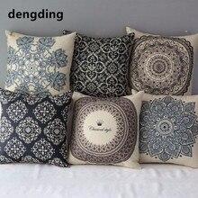 Funda de almohada de lino de algodón con diseño Floral Vintage, funda de cojín decorativa para cama, funda de almohada negra para oficina y hogar