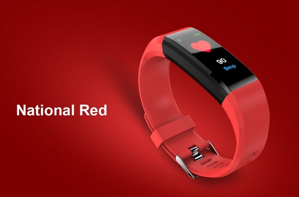 HTB1OOZSL4jaK1RjSZFAq6zdLFXaX 115Plus Bracelet Heart Rate Blood Pressure Smart Band Fitness Tracker Smartband Bluetooth Wristband for fitbits Smart Watch