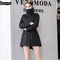 Nerazzurri Winter fur parka 2019 zip up jacket women warm female army green faux rabbit fur lining coat plus size 5xl 6xl 7xl