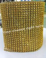 ファッションゴールドシャイニー縫う上の24行高品質プラスチックラインストーントリミングメッシュ4ミリメートル10ヤード/ロール