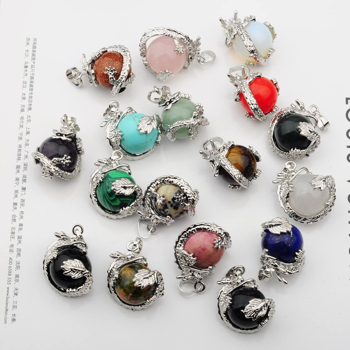 Gemstone information a list of precious and semi precious gemstones - Hot Sales Natural Semi Precious Stone Round Crystal Balls Wrapped Silver Dragon Jewelry Necklace Pendant 15mm
