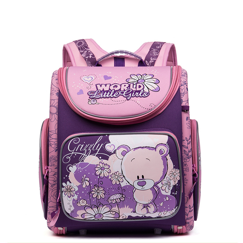 Russian Style Cartoon Cute Dogs Cats Bear School Bags for Girls Nylon Waterproof Orthopedic Backpacks School