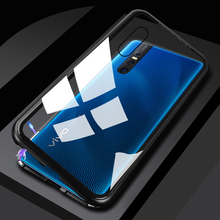 Metal Magnetic Case for VIVO X27 Aluminum Bumper Adsorption Tempered Glass Cover vivo x27 x 27 Phone Bags