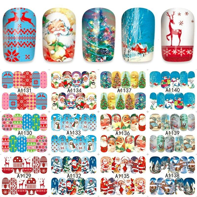 12 sheets water decal nail art nail sticker slider tattoo full Cover  Christmas Santa Claus snowman style decals A1129-1140 12 pack lot water decal nail art nail sticker full cover christmas xmas santa clause deer bn229 240