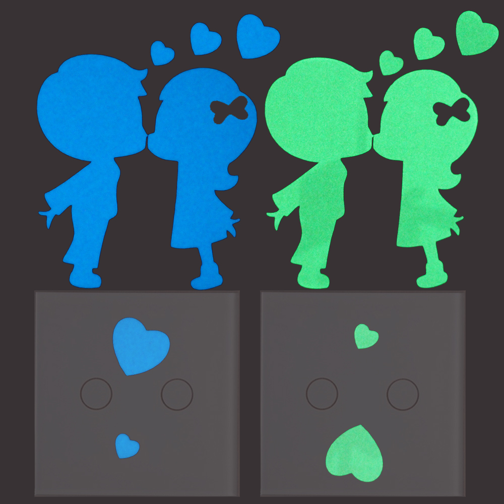 Wall stickers glowing - Kissing Lover Luminous Switch Sticker Home Decor Glow In The Dark Hearts Wall Stickers Girls Boys