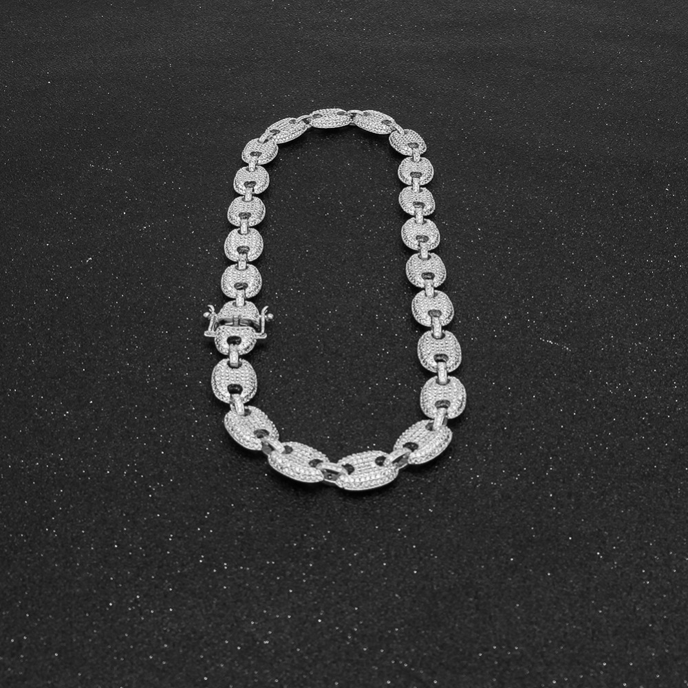 Uwin 13mm Necklaces For Men/Women Puffed Marine Chain Fat Links Choker Hiphop Iced Out Colored Cubic Zircon Fashion Jewelry