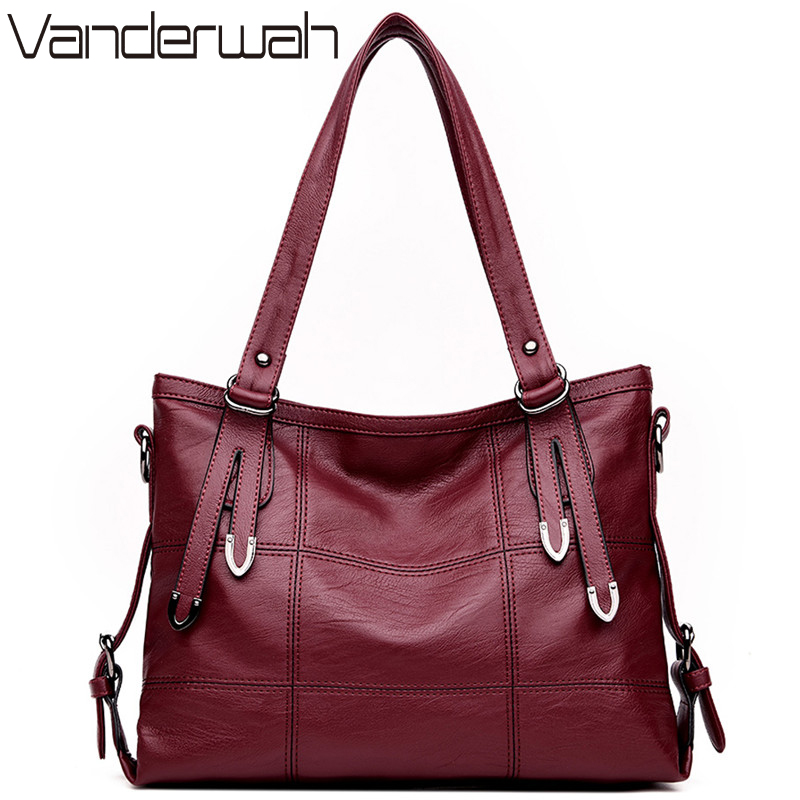 HOT Lady Top-handle bags leather luxury handbags women bags designer Stitching casual Women messenger Big shoulder bag <font><b>Tote</b></font> SAC