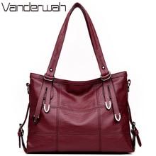HOT Lady Top-handle bags leather luxury handbags women bags designer Stitching casual Women messenger Big shoulder bag Tote SAC
