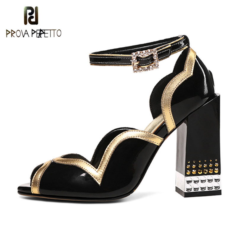 Prova Perfetto Rhinestone Ladies Sandals Peep Toe High Heels Shoes Woman Real Leather Ankle Buckle Strap Shoes Zapatos Mujer taoffen size 28 52 women pumps pointed toe ladies shoes woman buckle ankle strap high heels zapatos mujer footwear pa00908