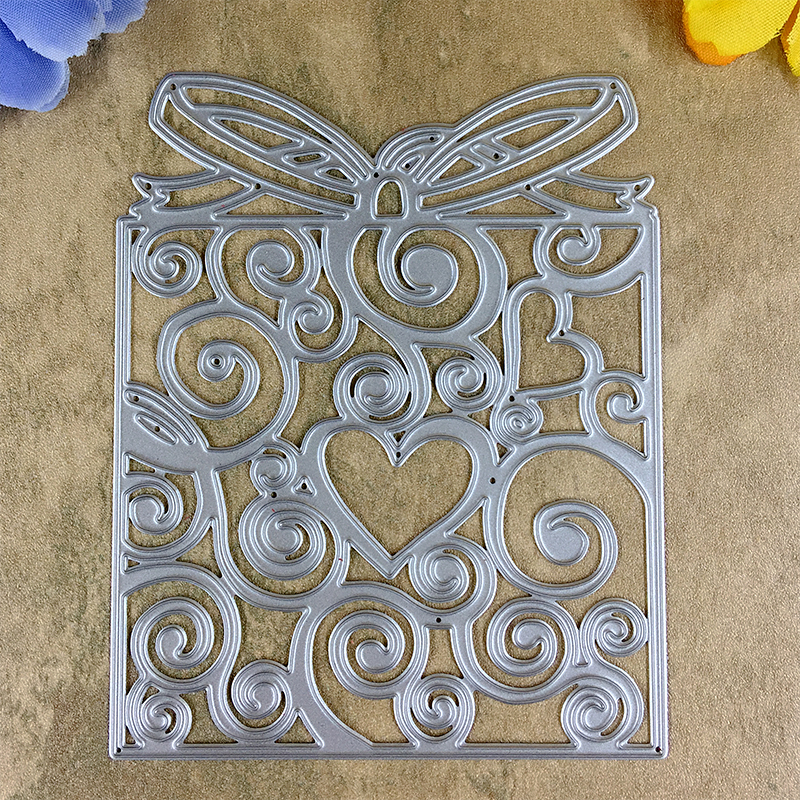 Love Heart Bow Gift Box Card Maker Metal Die Cutting Dies ...