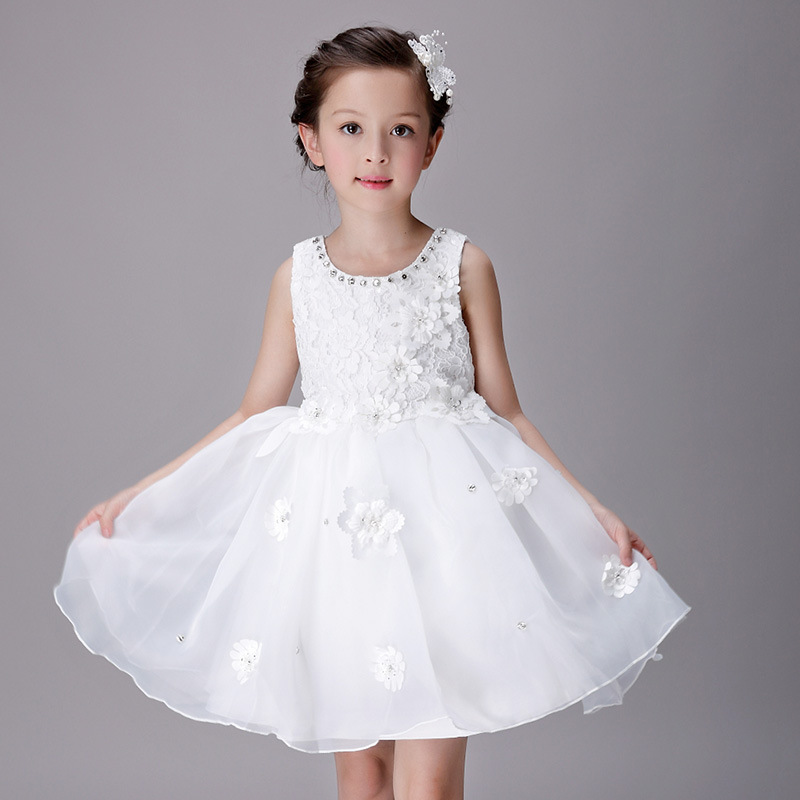 ФОТО YNB Pink White Sleeveless Children Girls Ball Gown Dress Kids 2017 Fashion Flower Girl wedding Dresses 3Y~15Years Girl Clothing