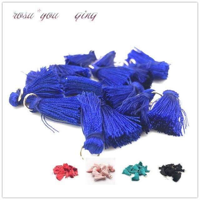 Bán Sỉ 10 cái/lốc 25mm Mini Tua Rua Nhỏ Ngắn Cotton Ren Tua Rua Trang Sức Bông Tai DIY