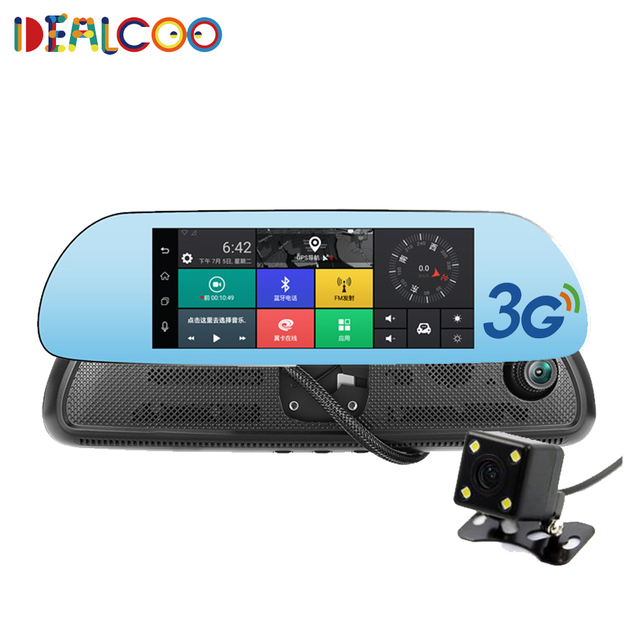 Dealcoo 8 inch Car GPS Navigator Android 5.0 with DVR mirror Bluetooth Built-in 16GB sat nav Eeurope RU US Maps Free Updates