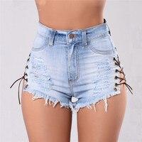 Sexy Mini Women Denim Short Coton Femme Button Pocket Hole Light Blue Cheap Ripped Jeans Shorts Hot Criss-Cross Summer