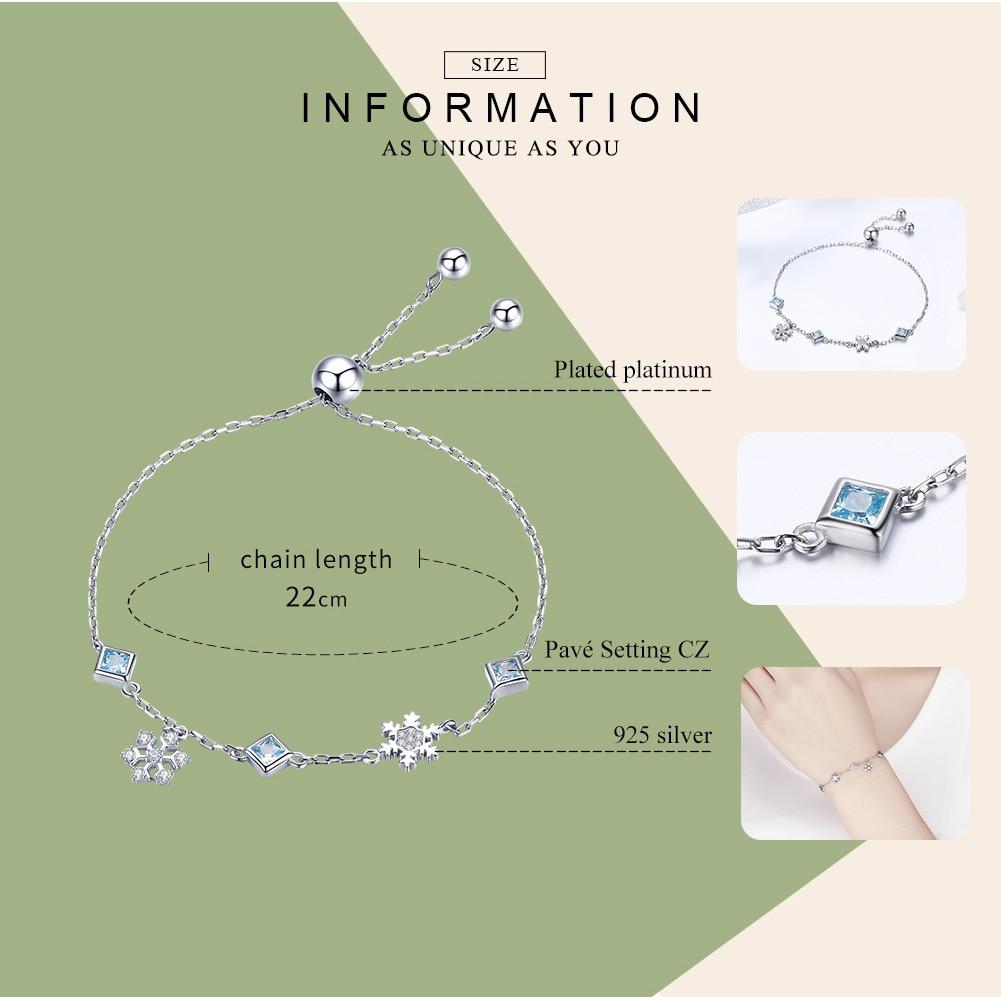 BAMOER New Collection 925 Sterling Silver Winter Snowflake Women Bracelets Chain Link Bracelet Sterling Silver Jewelry BSB001