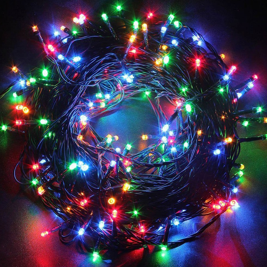 Green Cable 10M 100 LED String Lights AC220V Holiday Lighting New Year Christmas Wedding Party Decoration LED String Lights