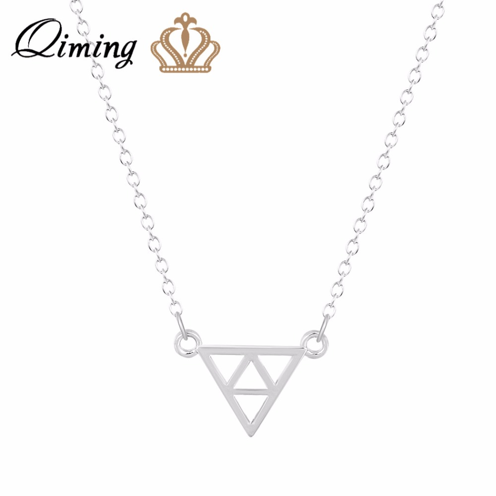 QIMING 2017 Silver Necklaces Fashion Jewelry Tri Force Triangle Pendant Necklace Special Design Geometric Necklace for Women